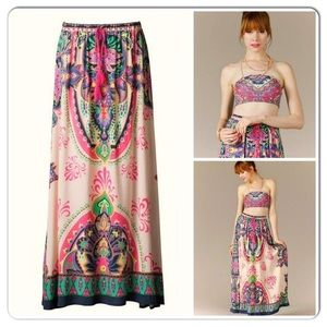 Anthropologie Flying Tomato Boho Maxi Skirt Sz S
